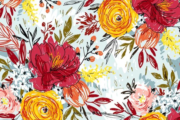 Peint à la main abstrait floral Vecteur gratuit