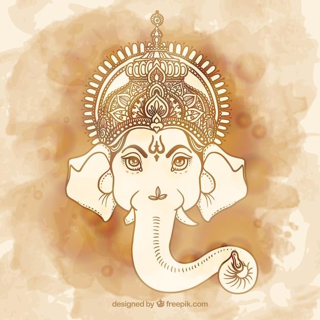 Peint à La Main Ganesha Vecteur gratuit