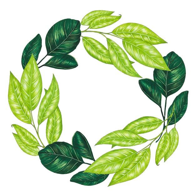 Peint à la main avec guirlande florale de marqueurs avec brindille, branche et feuilles abstraites vertes Vecteur gratuit
