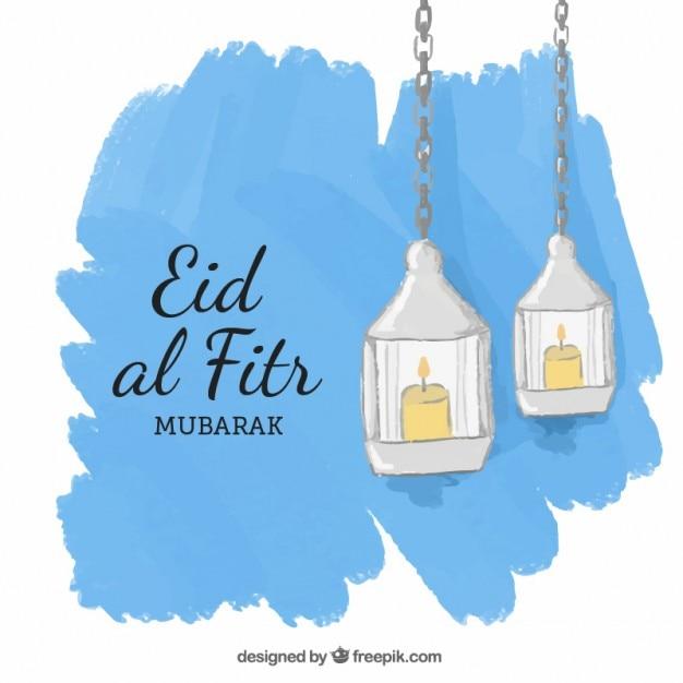 Peint à La Main Lanters Eid Al Fitr Fond Vecteur gratuit
