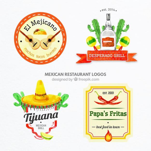 Peint à La Main Logos Alimentaires Mexicains Colorés Vecteur gratuit