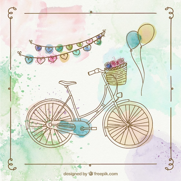 Peint à La Main Rétro Vélo Vecteur gratuit