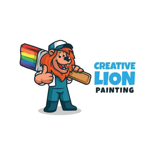 Un Peintre Décorateur Bricoleur Personnage De Dessin Animé Lion Tenant Un Pinceau. Logo De Mascotte De Peintre De Lion Faisant Les Pouces Vers Le Haut. Vecteur Premium