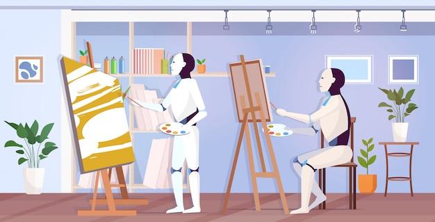 Peintres De Robots Utilisant Des Pinceaux Et Des Artistes Robotiques En Palette Devant La Créativité De L'art Du Chevalet Vecteur Premium