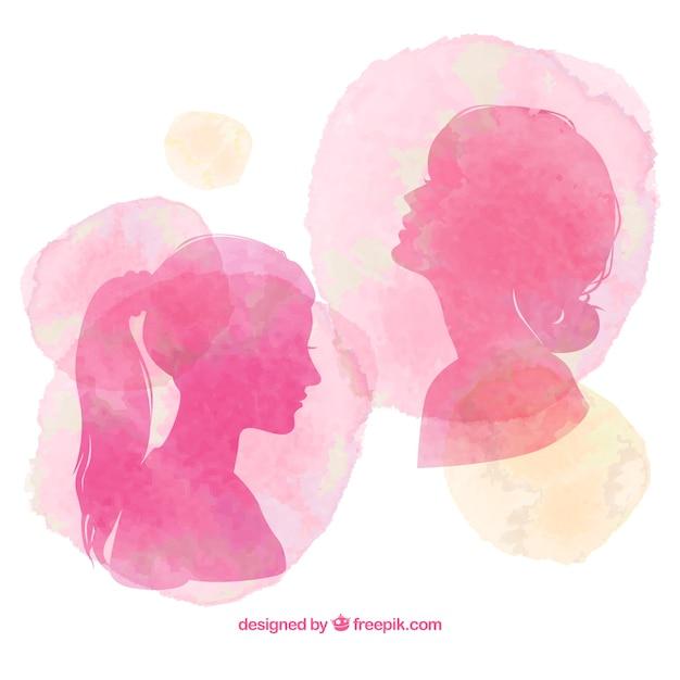 Peints à La Main Femmes Silhouettes Vecteur gratuit