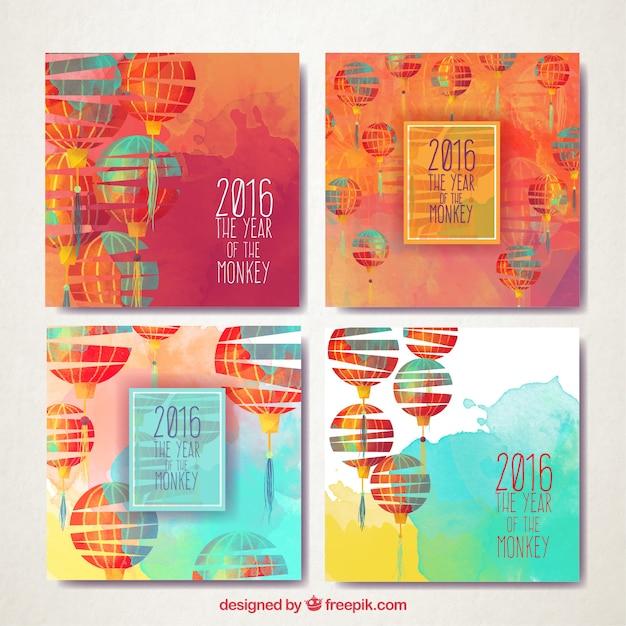Peints à La Main Lanternes Nouvelles Cartes De L'année Vecteur gratuit
