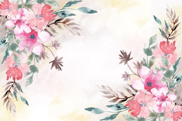 Peinture artistique avec fond floral aquarelle Vecteur gratuit