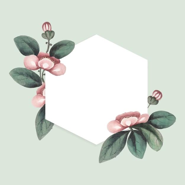 Peinture chinoise avec cadre hexagonal vierge de fleurs Vecteur gratuit