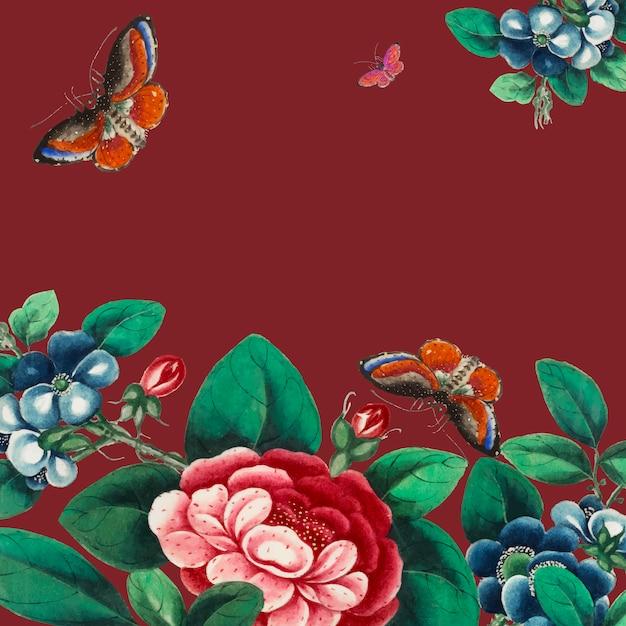 Peinture chinoise avec des fleurs et des papillons Vecteur gratuit