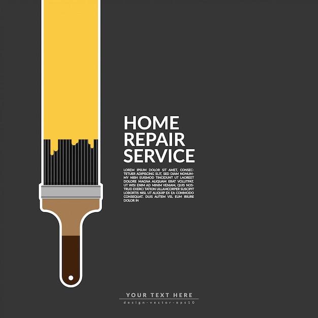 Peinture rouleau peinture couleur jaune sur le logo de la maison Vecteur Premium