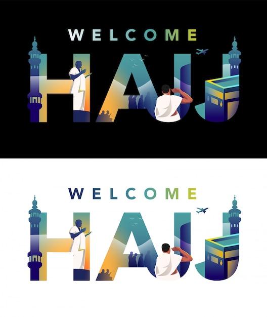 Pèlerin priant sur jabal rahmah et faisant face à la masjid haram avec illustration de la typographie hajj Vecteur Premium