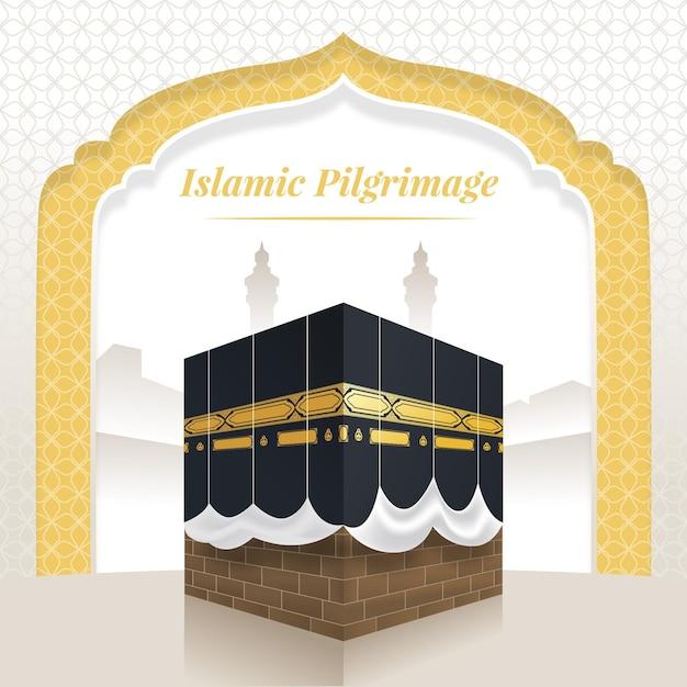 Pèlerinage Islamique Réaliste Vecteur gratuit