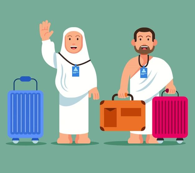 Pèlerins portant une serviette à roulettes Vecteur Premium