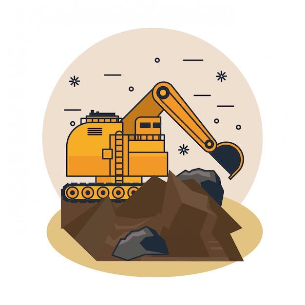Pelle hydraulique minière Vecteur Premium