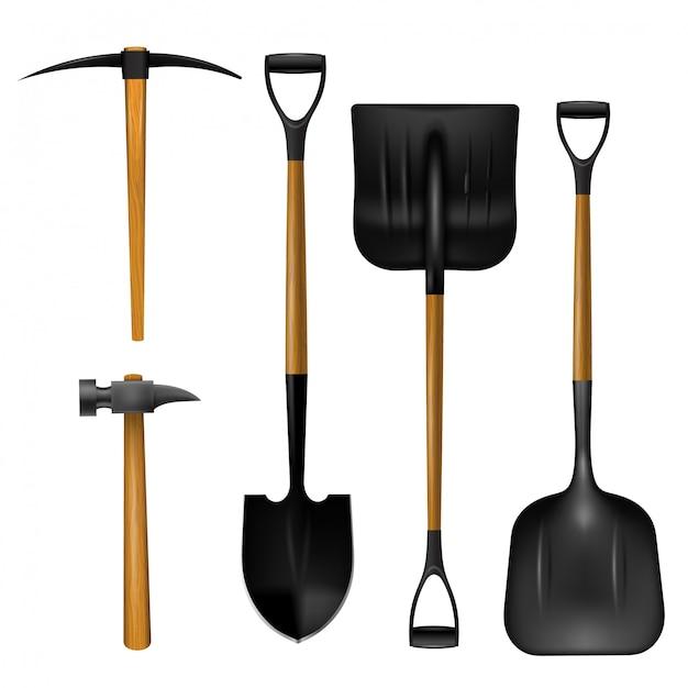 Pelles réalistes, marteau et hache Vecteur Premium