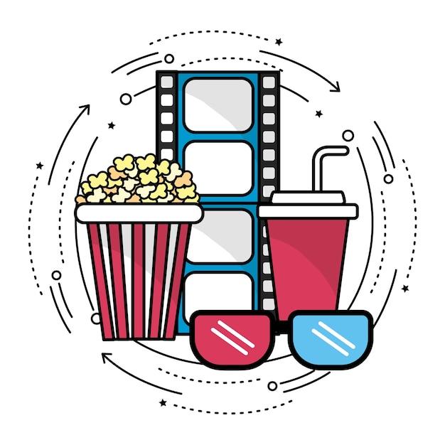Pellicule avec l'icône d'outils cinématographie Vecteur Premium