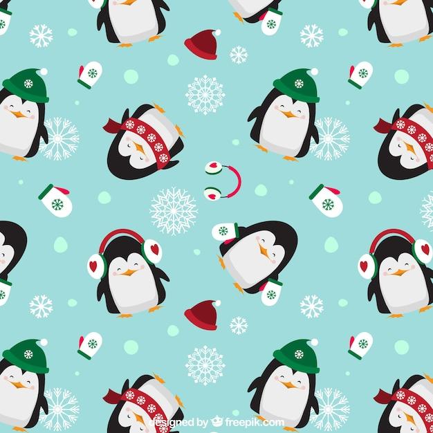 Penguins Motif Noël Vecteur Premium