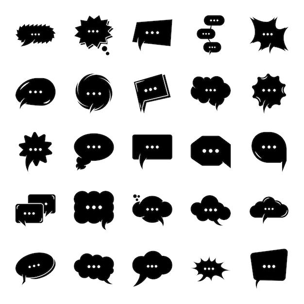 Pensée bubble chat icônes glyphe Vecteur Premium