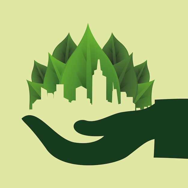 Pensez au design vert Vecteur Premium
