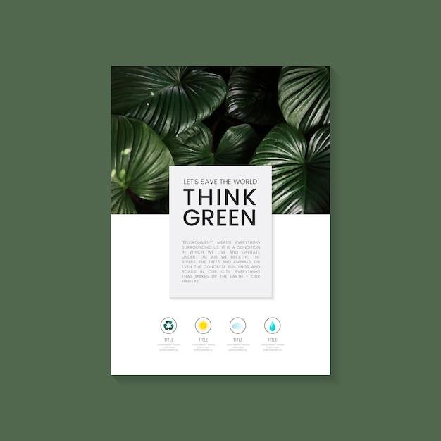 Pensez vecteur de brochure verte conservation de l'environnement Vecteur gratuit