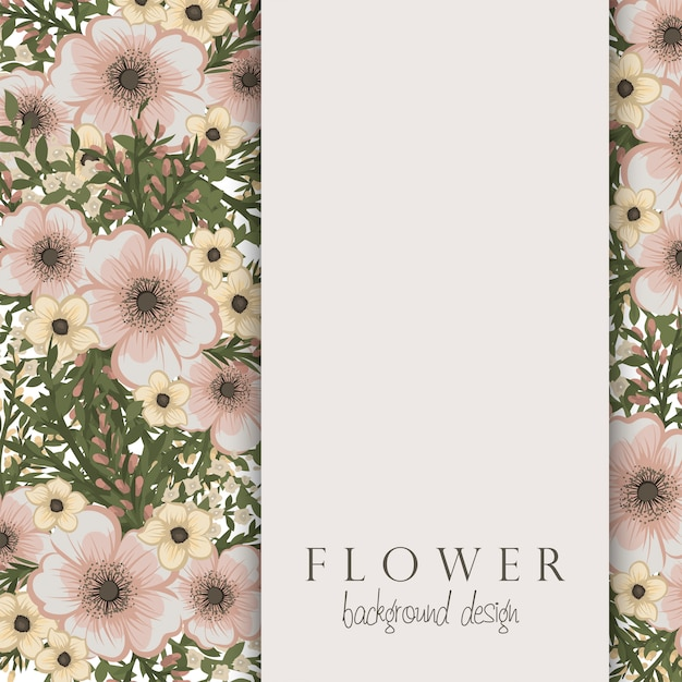 Pensionnaire de fleurs avec des fleurs beiges Vecteur gratuit
