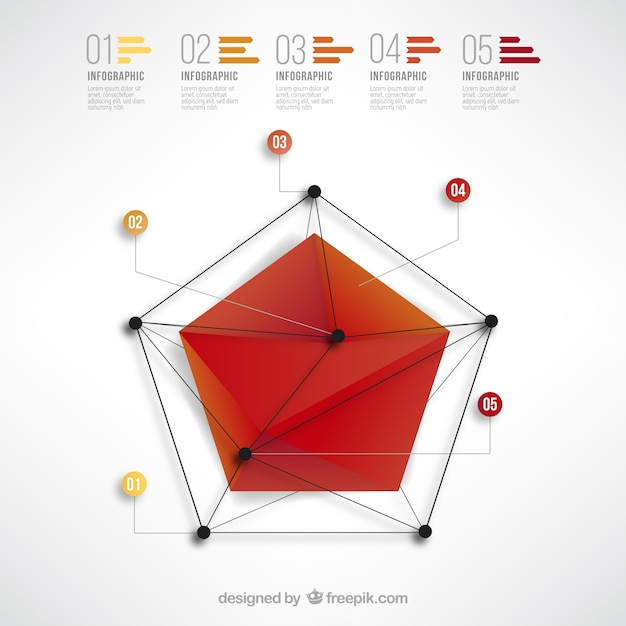 Pentagone infographie Vecteur gratuit
