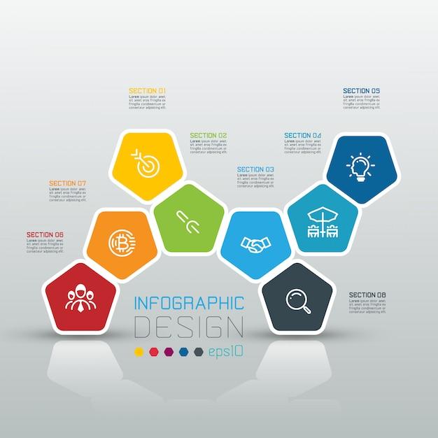 Pentagones étiquette infographie sur art vectoriel Vecteur Premium