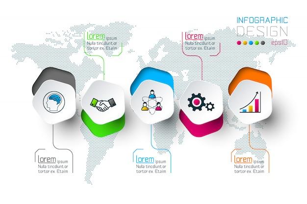 Les pentagones marquent l'infographie en 5 étapes. Vecteur Premium