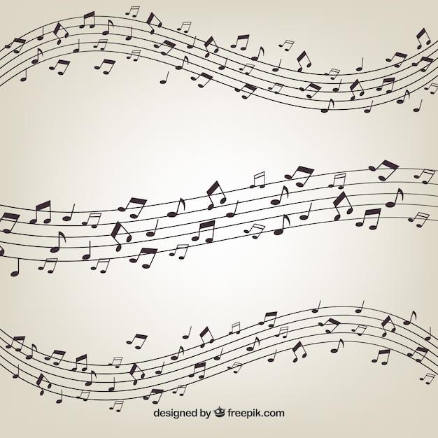 Pentagram avec des notes musicales Vecteur gratuit