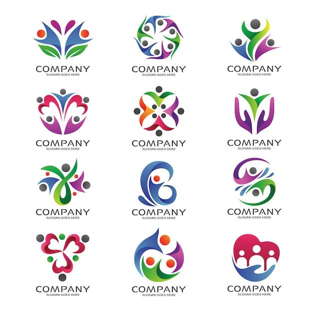 People foundation et logo communautaire Vecteur Premium