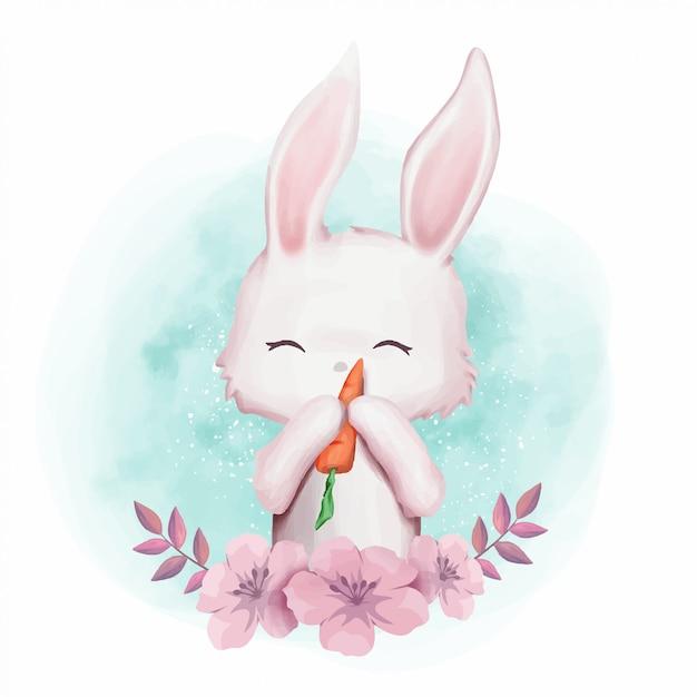 Pépinière mignonne de lapin amour carotte Vecteur Premium