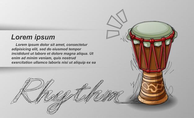 Percussions esquissées et texte sur fond blanc. Vecteur Premium