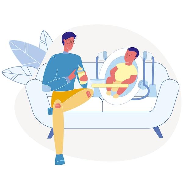 Père, alimentation, nourrisson, plat, illustration vectorielle Vecteur Premium
