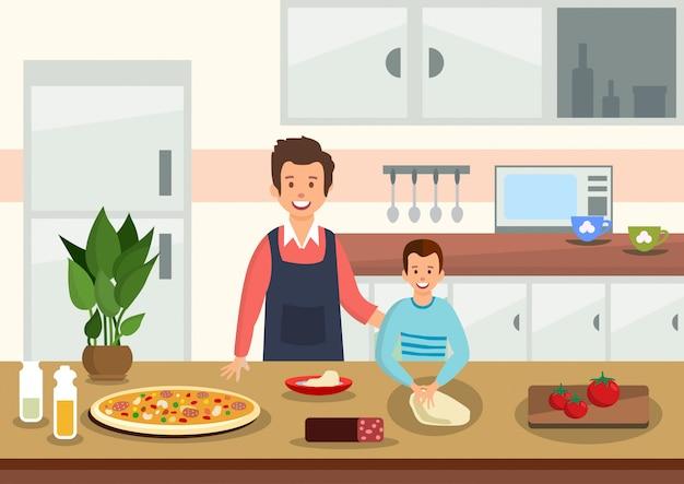 Père de bande dessinée aide son fils à pétrir la pâte pour pizza. Vecteur Premium