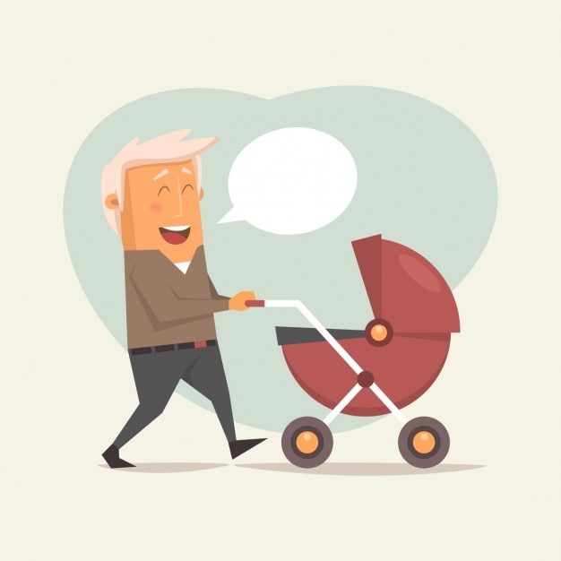 Père blond avec une voiture d'enfant Vecteur gratuit