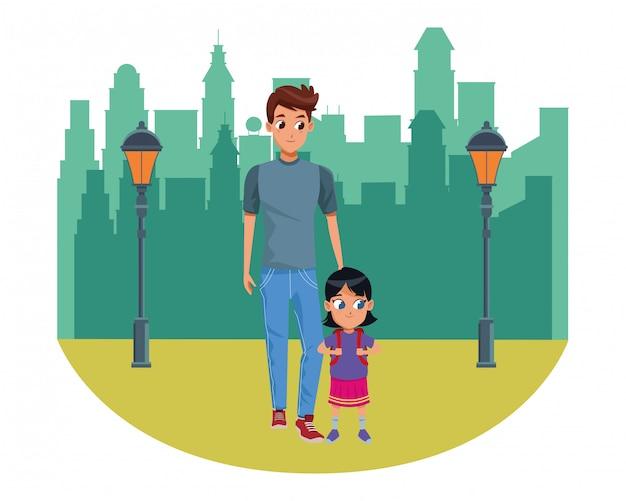 Père célibataire avec enfant Vecteur Premium