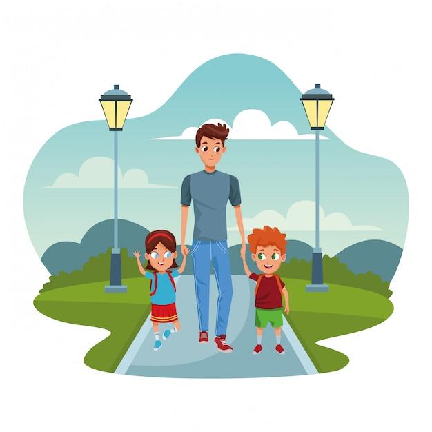 Père célibataire avec enfants Vecteur Premium
