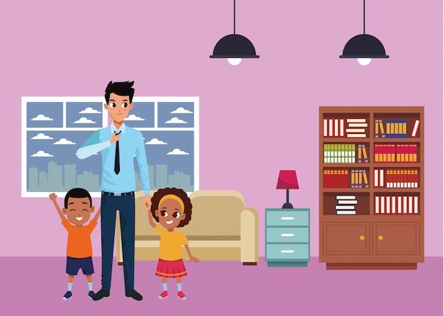 Père célibataire avec garçon et fille afro Vecteur Premium