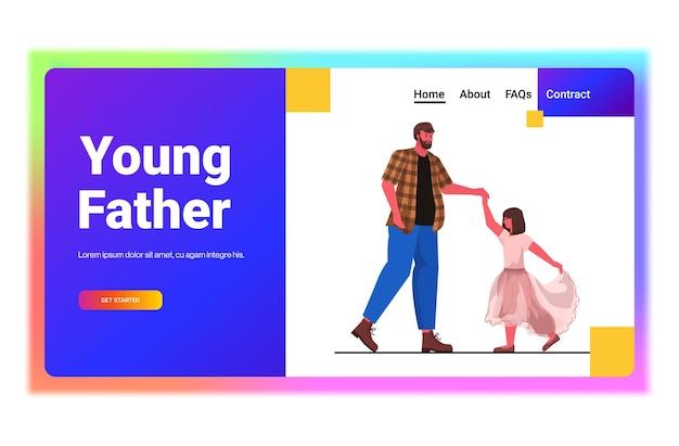 Père Dansant Avec Leçon De Ballet Dughter Concept De Paternité Parentale Papa Passer Du Temps Avec Son Enfant Pleine Longueur Horizontale Vecteur Premium