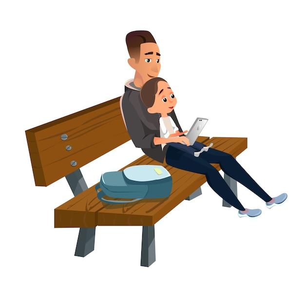 Père en dessin animé assis sur un banc en bois avec fils Vecteur Premium