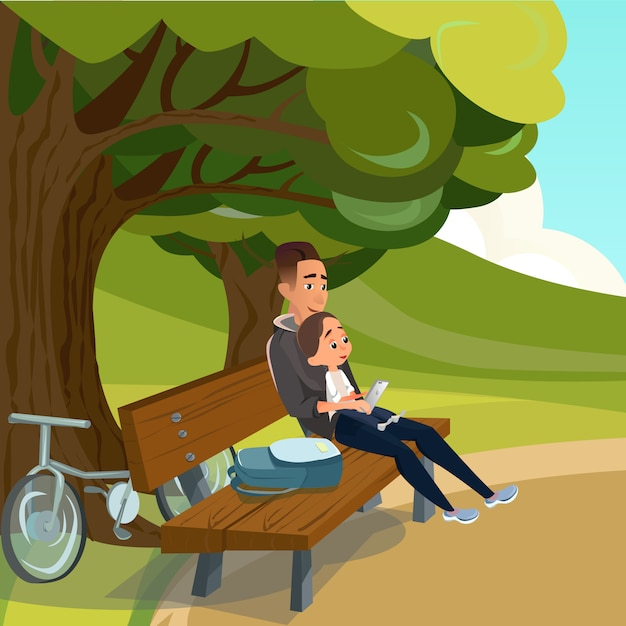 Père en dessin animé assis sur un banc avec son fils dans le parc Vecteur Premium