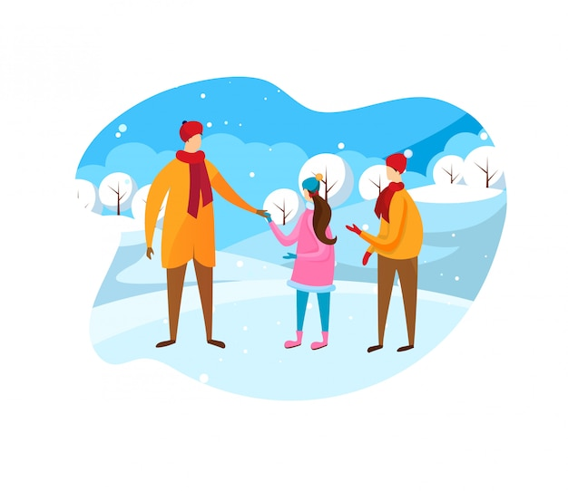 Père et enfants marchant au soleil d'hiver Vecteur Premium