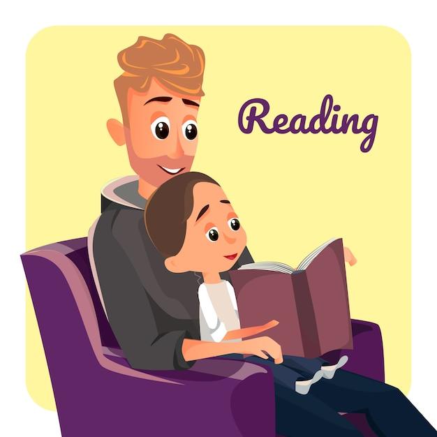 Père en fauteuil lire au petit fils garçon écouter Vecteur Premium