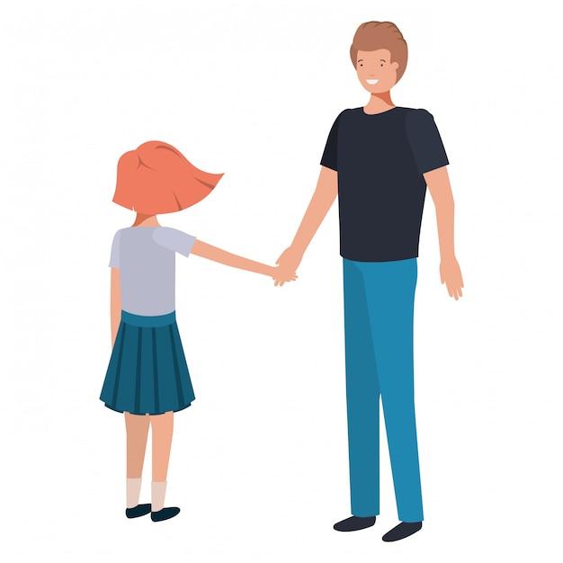 Père et fille souriant personnage avatar Vecteur Premium