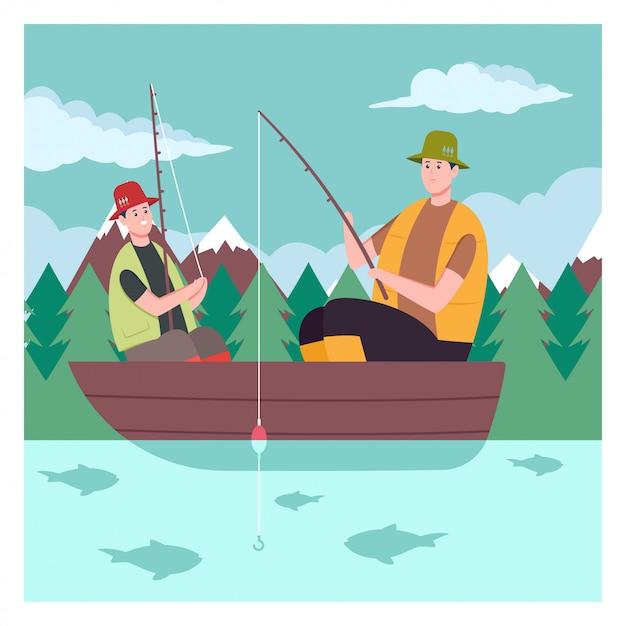 Père et fils sur le bateau en train de pêcher sur le lac Vecteur Premium