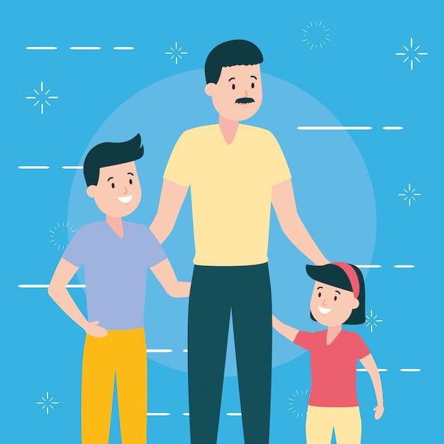Père avec fils et fille Vecteur gratuit