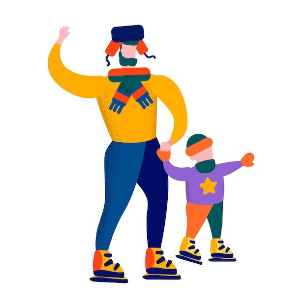 Père et fils, patinage, illustration, jeux famille, hiver Vecteur Premium