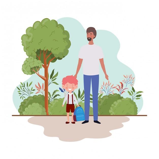 Père avec fils de retour à l'école Vecteur Premium