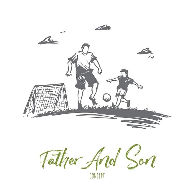 Père, Football, Fils, Jeu, Concept De Parent. Papa Dessiné Main Jouant Au Football Avec Croquis De Concept De Fils. Vecteur Premium