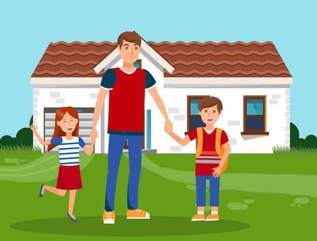 Père heureux avec enfants couleur illustration vectorielle Vecteur Premium
